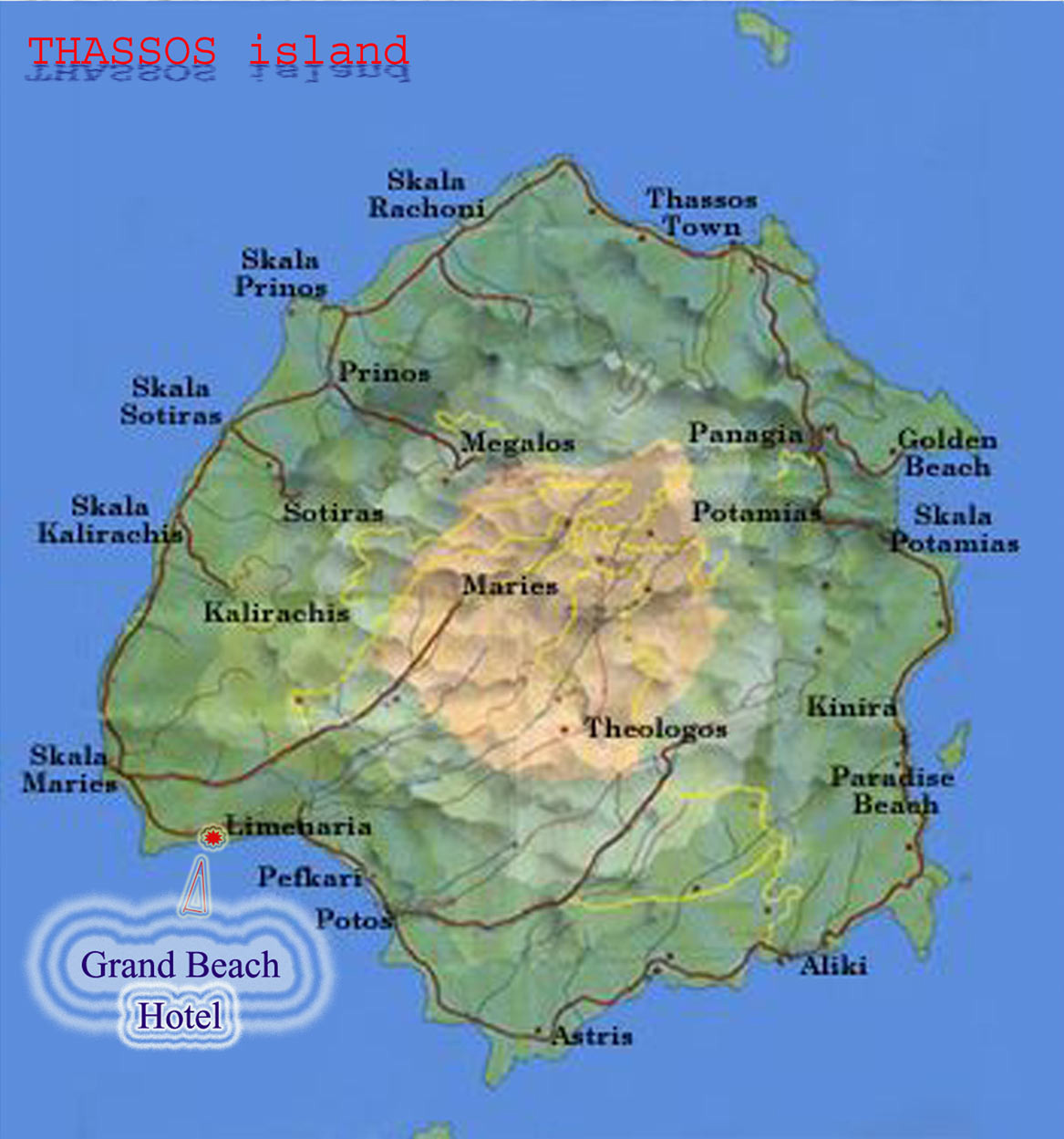 MAP OF THASSOS GRAND BEACH HOTEL